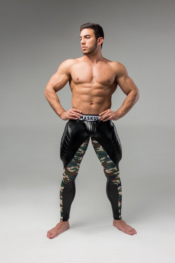Maskulo Men S Fetish Leggings Codpiece Zipped Rear Camo