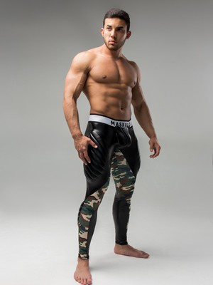 Maskulo Men's Fetish Leggings Codpiece Zipped Rear Camo Woodland