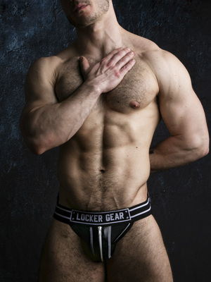 LOCKER GEAR Jockstrap With Zipper Black/White