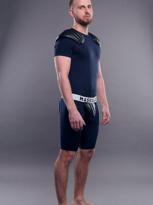 Maskulo Men's Fetish T-Shirt Spandex Shoulder Pads Navy Blue/Black