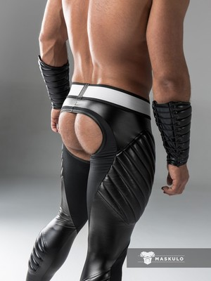 Maskulo Men's Fetish Meggings Pouch Open Rear Black (PO)