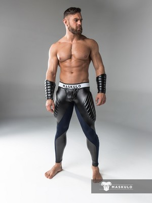 Maskulo Men's Fetish Meggings Pouch Open Rear Navy Blue/White (PO)
