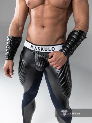 Maskulo Men's Fetish Meggings Pouch Zipped Rear Navy Blue/White (PZ)