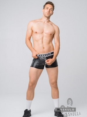 MASKULO Skulla Men's Fetish Leatherette Shorts White