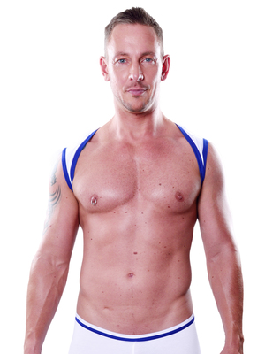 4 Hunks Sport Male Harness Stretch White
