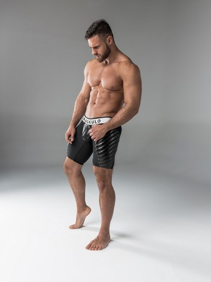 Maskulo Men's Fetish Shorts Codpiece Zippered Rear Full Thigh Pads Black