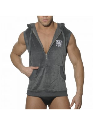 ES Velvet Sleeveless Hoody Charcoal