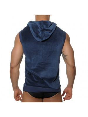 ES Velvet Sleeveless Hoody Navy