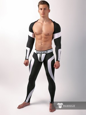MASKULO Youngero Men's Fetish Top Spandex Long Sleeves Neon White