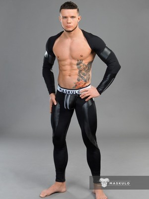 MASKULO Youngero Men's Fetish Top Spandex Long Sleeves Black