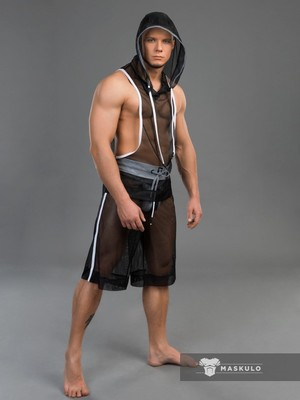 MASKULO Youngero Men's Fetish Tank Top Mesh Neon White
