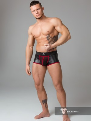 MASKULO Youngero Men's Fetish Trunks Mesh Codpiece Open Rear Red