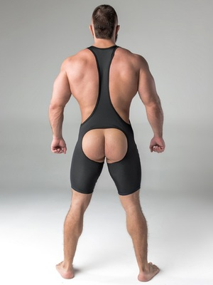 Maskulo Men's Fetish Wrestling Singlet Codpiece Open Rear Black