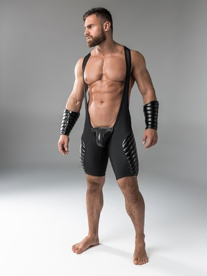 Maskulo Men's Fetish Wrestling Singlet Codpiece Open Rear Full Thigh Pads Black