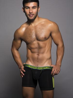 Andrew Christian Peek-A-Boo Boxer Black/Lime